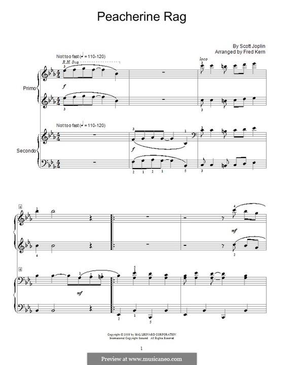 Peacherine Rag: para piano de quadro mãos by Scott Joplin