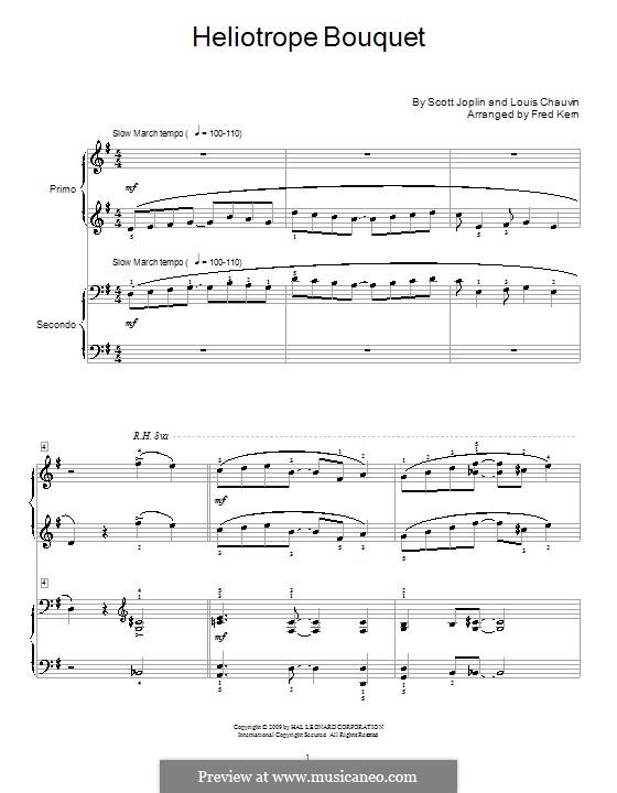 Heliotrope Bouquet: para piano de quadro mãos by Scott Joplin, Louis Chauvin