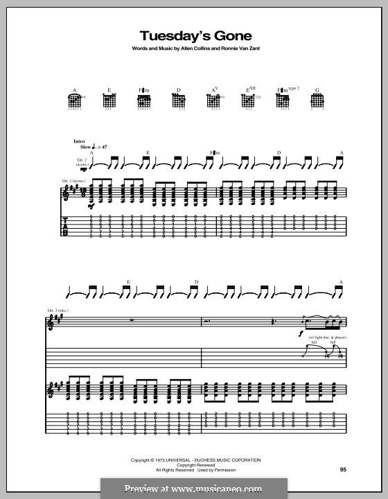 Tuesday's Gone (Lynyrd Skynyrd): Para guitarra com guia by Allen Collins, Ronnie Van Zant