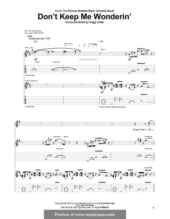 Don't Keep Me Wonderin' (The Allman Brothers Band): Para guitarra com guia by Gregg Allman