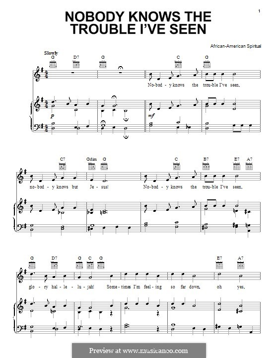 Nobody Knows the Trouble I've Seen: Para vocais e piano (ou Guitarra) by folklore