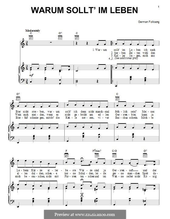 Warum sollt' im Leben: Für Stimme und Klavier (oder Gitarre) by folklore