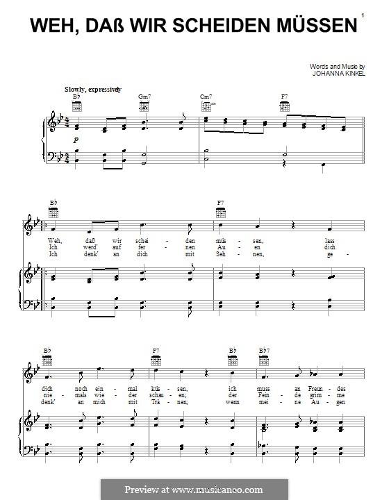Weh, Dass Wir Scheiden Mussen (The Soldiers Farewell): Para vocais e piano (ou Guitarra) by Johanna Kinkel