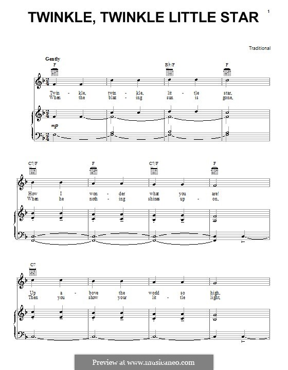 Twinkle, Twinkle Little Star: Para vocais e piano (ou Guitarra) by folklore