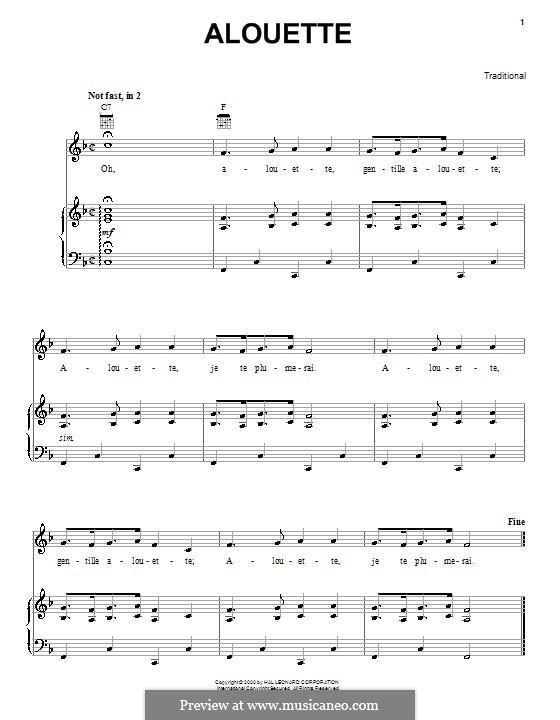 Alouette: Para vocais e piano (ou Guitarra) by folklore
