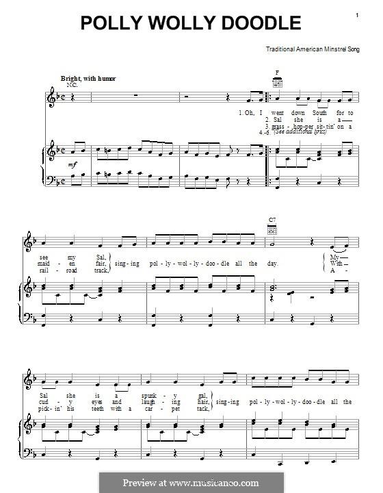 Polly Wolly Doodle: Para vocais e piano (ou Guitarra) by folklore