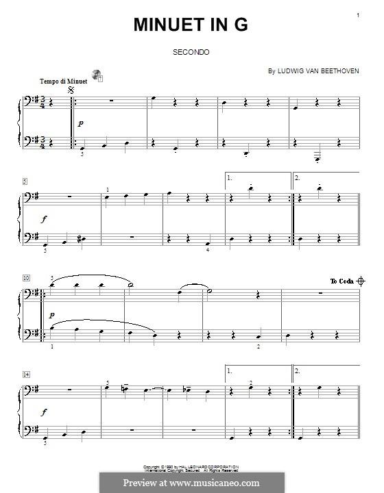Minuet in G Major: versão para piano de quatro mãos by Ludwig van Beethoven