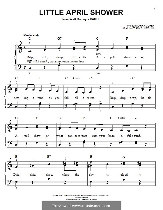 Little April Shower (from Bambi): Facil para o piano by Frank Churchill