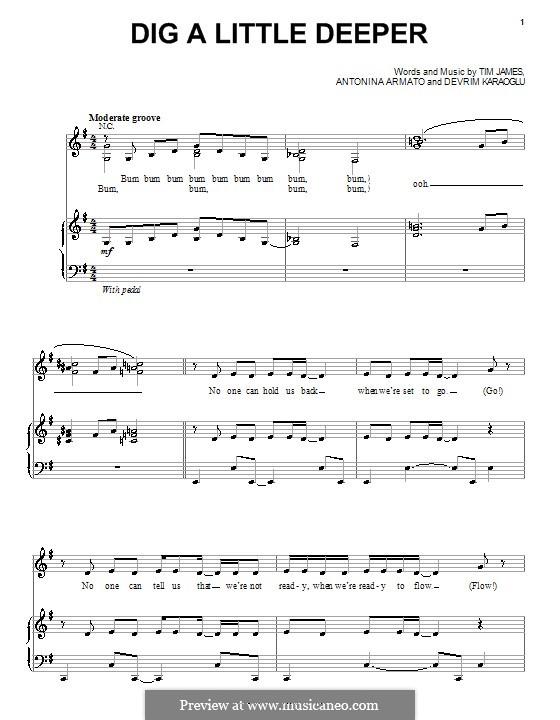 Dig a Little Deeper (The Cheetah Girls): Para vocais e piano (ou Guitarra) by Antonina Armato, Devrim Karaoglu, Timothy James