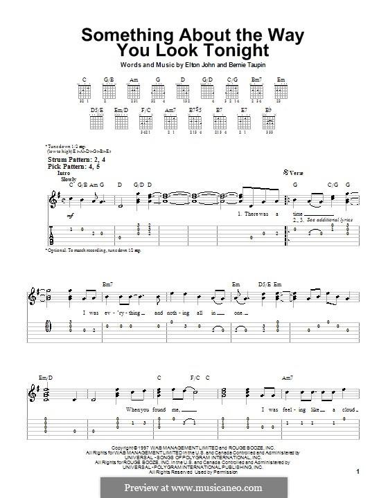 Something About the Way You Look Tonight: Para guitarra (versão facil) by Elton John