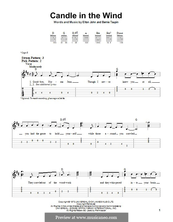 Candle in the Wind: Para guitarra (versão facil) by Elton John