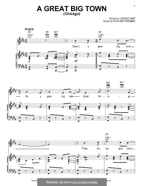 A Great Big Town (Chicago): para vocais,piano ou guitarra by Richard Rodgers