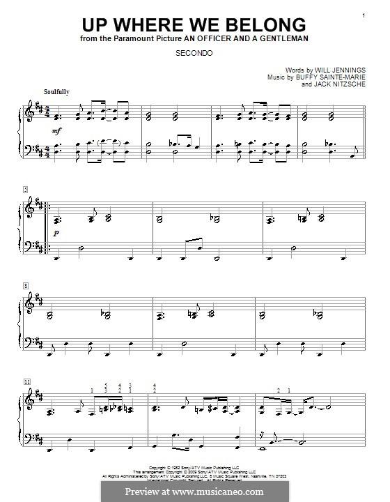 Up Where We Belong (Joe Cocker and Jennifer Warnes): para piano de quadro mãos by Buffy Sainte-Marie, Jack Nitzsche, Will Jennings