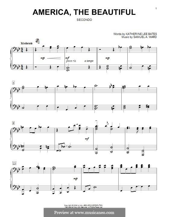 America the Beautiful: para piano de quadro mãos by Samuel Augustus Ward