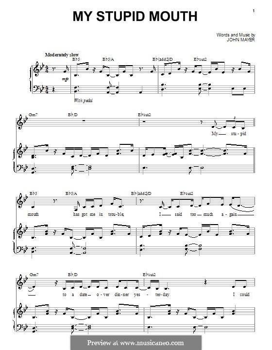 My Stupid Mouth: Para vocais e piano (ou Guitarra) by John Mayer