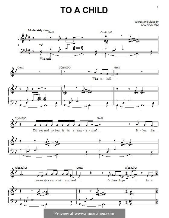 To a Child: Para vocais e piano (ou Guitarra) by Laura Nyro