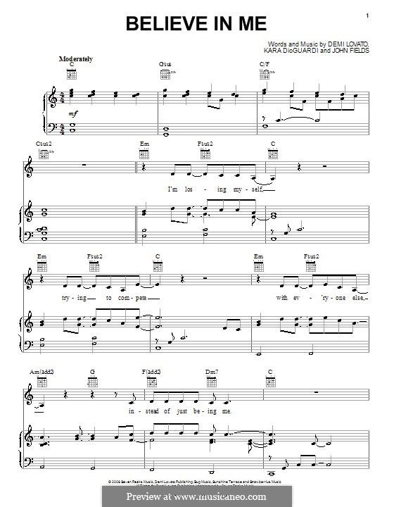 Believe in Me (Demi Lovato): Para vocais e piano (ou Guitarra) by John Fields, Kara DioGuardi