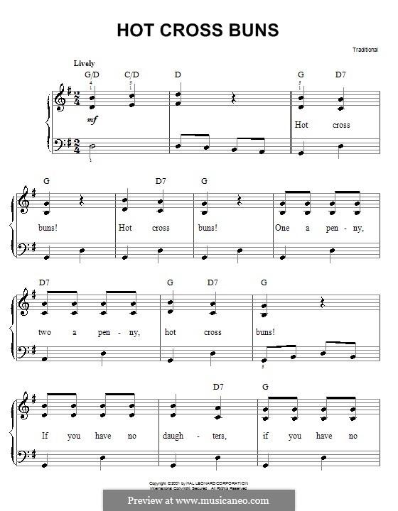 Hot Cross Buns: Facil para o piano by folklore