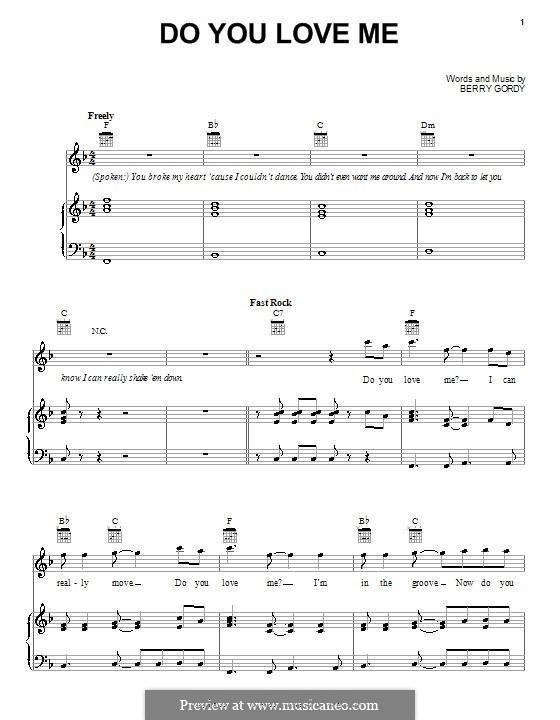 Do You Love Me (The Contours): Para vocais e piano (ou Guitarra) by Berry Gordy
