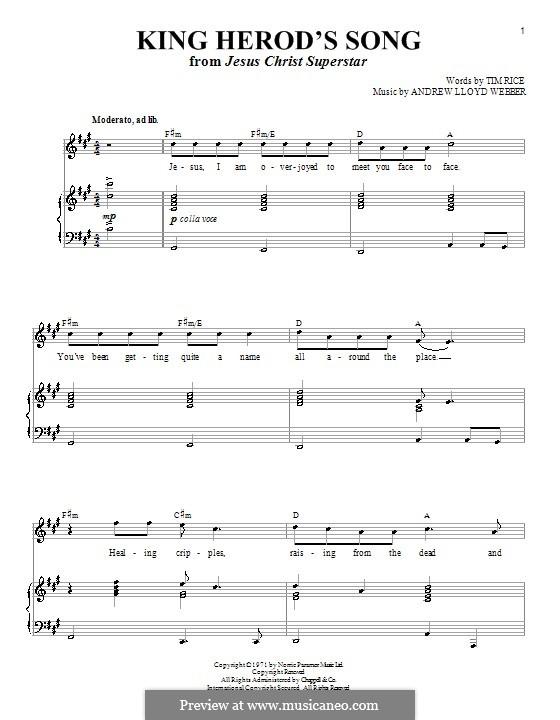 King Herod's Song: Para vocais e piano (ou Guitarra) by Andrew Lloyd Webber