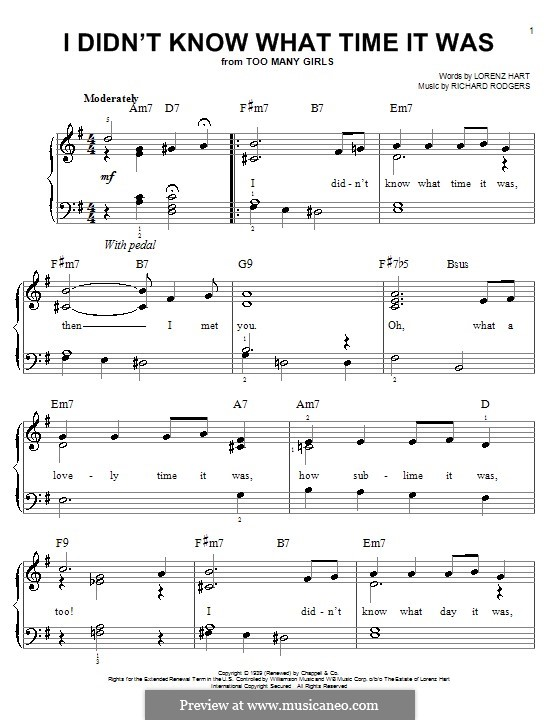 I didn't Know What Time it Was: Facil para o piano by Richard Rodgers