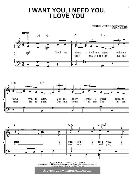 I Want You, I Need You, I Love You (Elvis Presley): Facil para o piano by Ira Kosloff