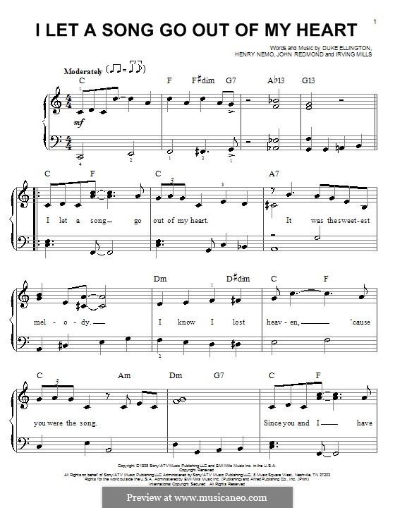 I Let a Song Go Out of My Heart (Duke Ellington): Facil para o piano by Irving Mills, Henry Nemo, John Redmond