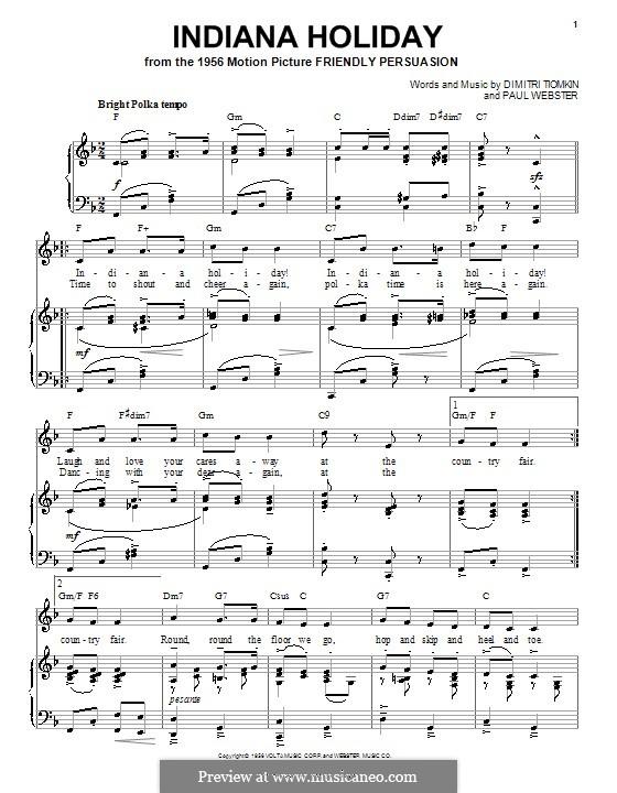 Indiana Holiday: Para vocais e piano (ou Guitarra) by Paul Francis Webster