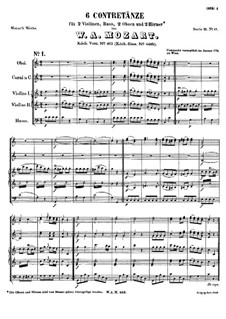 Six Contredanses for Orchestra, K.462: Six Contredanses for Orchestra by Wolfgang Amadeus Mozart