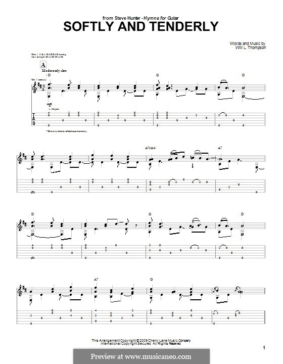 Softly and Tenderly: Para guitarra com guia by Will Lamartine Thompson