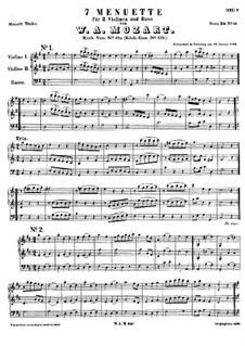 Seven Minuets, K.65a: Seven Minuets by Wolfgang Amadeus Mozart