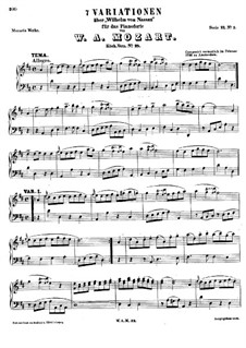 Seven Variations on 'Wilhelm von Nassan', K.25: Para Piano by Wolfgang Amadeus Mozart