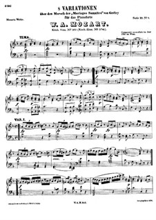 Eight Variations on 'Dieu d'amour' from 'The Samnite Marriages' by A. Grétry, K.352: Para Piano by Wolfgang Amadeus Mozart
