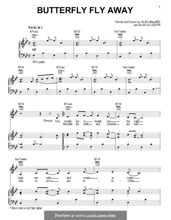 Butterfly Fly Away (Miley Cyrus): Para vocais e piano (ou Guitarra) by Alan Silvestri, Glen Ballard