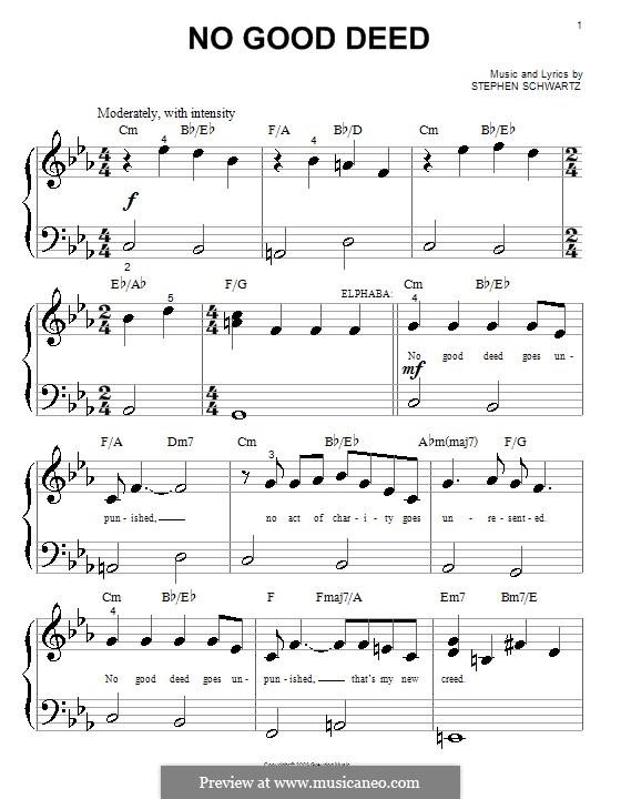 No Good Deed (from Wicked): para piano (versão facil) by Stephen Schwartz