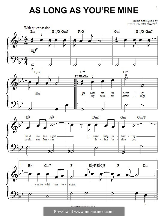 As Long as You're Mine (from Wicked): para piano (versão facil) by Stephen Schwartz
