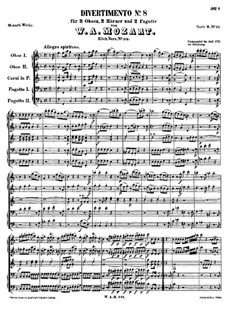 Divertissement in F Major, K.213: partitura completa by Wolfgang Amadeus Mozart