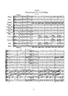 Divertissement No.2 in D Major, K.131: partitura completa by Wolfgang Amadeus Mozart