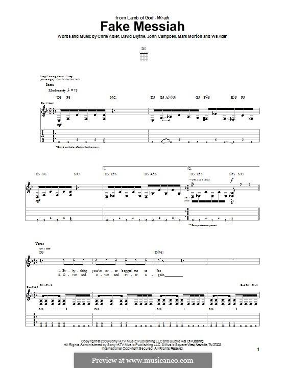 Fake Messiah (Lamb of God): Para guitarra com guia by Chris Adler, David Blythe, John Campbell, Mark Morton, Will Adler