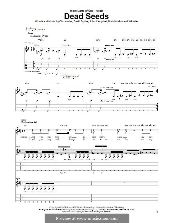 Dead Seeds (Lamb of God): Para guitarra com guia by Chris Adler, David Blythe, John Campbell, Mark Morton, Will Adler