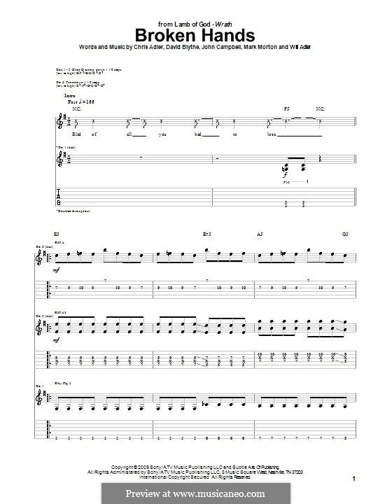 Broken Hands (Lamb of God): Para guitarra com guia by Chris Adler, David Blythe, John Campbell, Mark Morton, Will Adler