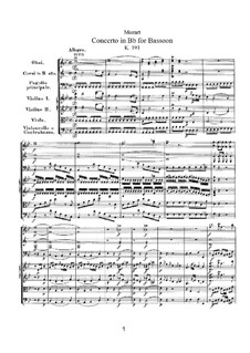 Concerto for Bassoon and Orchestra in B Flat Major, K.191: Partitura completa by Wolfgang Amadeus Mozart