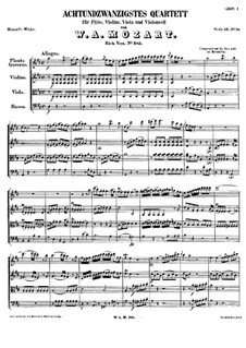 Quartet for Flute and Strings No.28 in D Major, K.285: Partitura completa by Wolfgang Amadeus Mozart