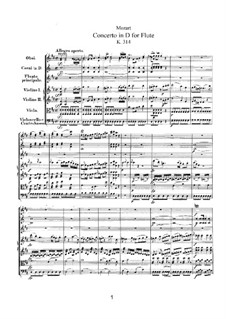 Concerto for Flute and Orchestra No.2 in D Major, K.314: Partitura completa by Wolfgang Amadeus Mozart