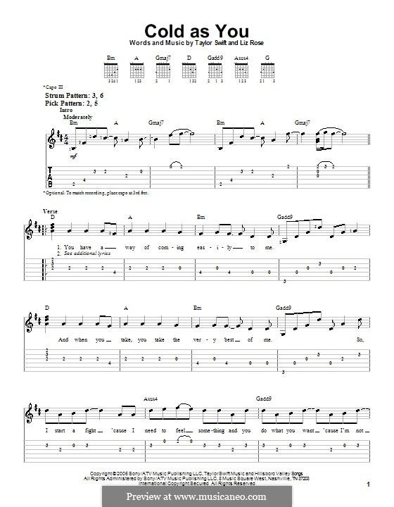 Cold as You (Taylor Swift): Para guitarra (versão facil) by Liz Rose