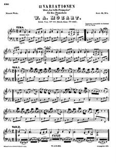 Twelve Variations on 'La Belle Françoise', K.353: Para Piano by Wolfgang Amadeus Mozart