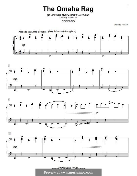 The Omaha Rag: para piano de quadro mãos by Glenda Austin