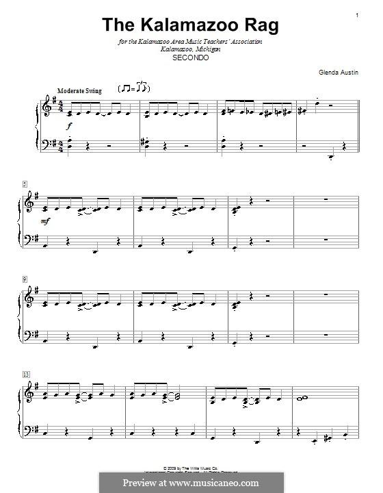The Kalamazoo Rag: para piano de quadro mãos by Glenda Austin