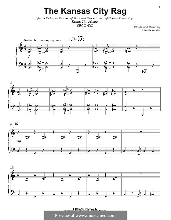 The Kansas City Rag: para piano de quadro mãos by Glenda Austin