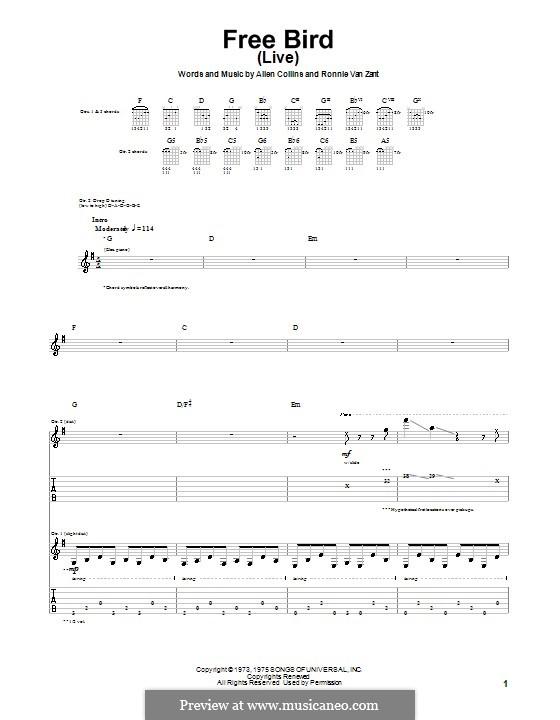 Free Bird (Lynyrd Skynyrd): Para Guitarra by Allen Collins, Ronnie Van Zant